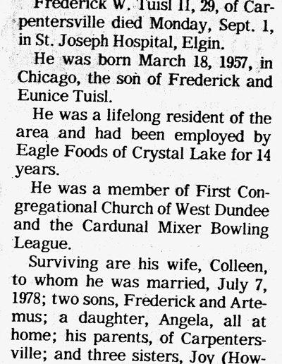Fred Tuisl Obituary